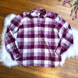 J Crew Herringbone Check Plaid Popover Shirt
